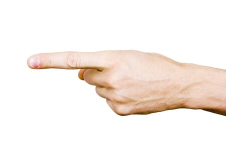 first finger: hand of a man with a finger on a white background  Stock Photo