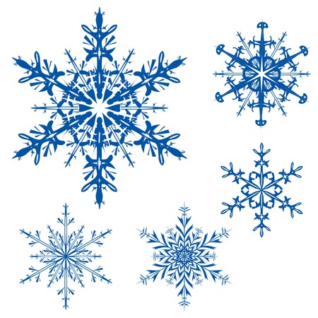 flakes: set of snowflakes on a white background