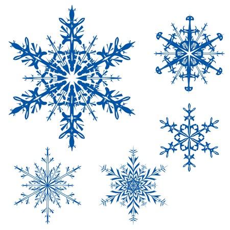 set of snowflakes on a white background