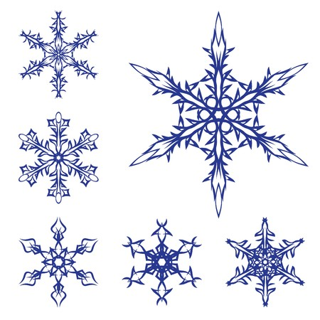 set of snowflakes on a white background Illustration