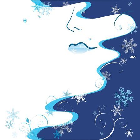 stylized female face with hair and snowflakes Vector