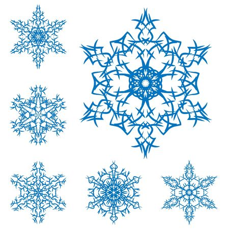 set of snowflakes on a white background Stock Vector - 8032162