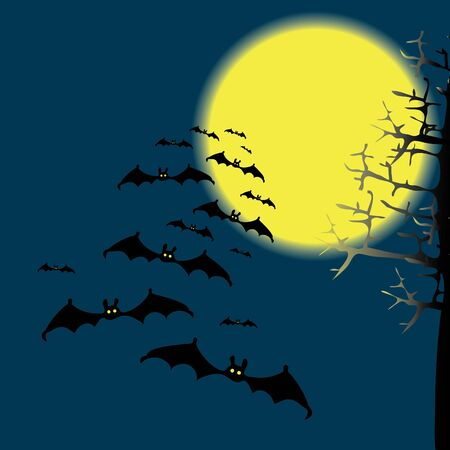 hallow: Bats in the night sky. drawing