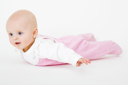 baby girl lying on a white background Stock Photo - 8092068