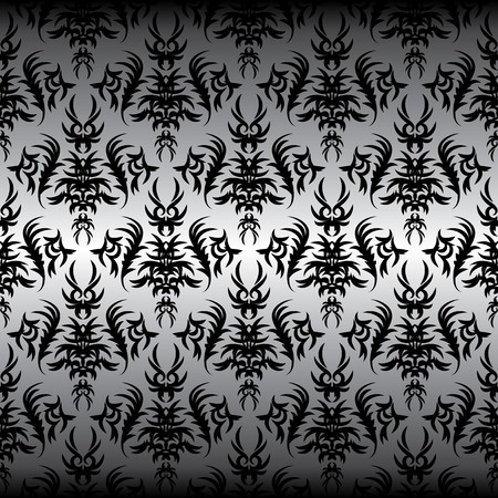seamless black Victorian design on a gray background Illustration
