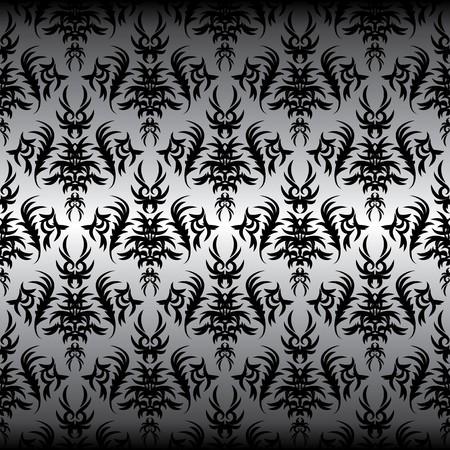seamless black Victorian design on a gray background Illusztráció