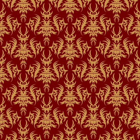 seamless pattern on a red background. Retro, vintage photo