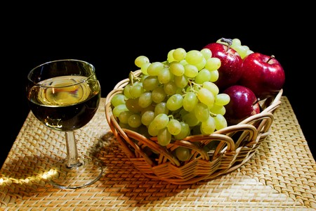 Still Life with Grapes and a glass of wine  photo