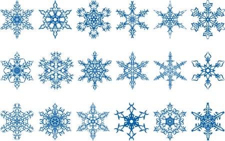 白い背景の上の雪のベクトルを設定