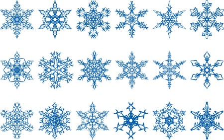 vector set of snowflakes on a white background Vetores