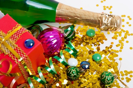 Christmas gift, decorations and champagne. Festive still life  photo