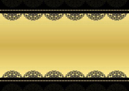 テキストのフレーム。ブラックとゴールド。ベクトルの背景
