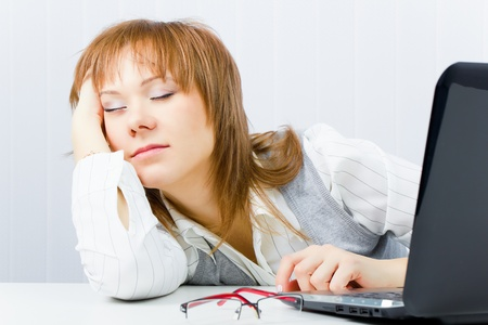 worker, asleep on a laptop in the office Stock Photo - 8519889