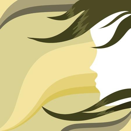 visage de la jeune fille sur fond abstraite