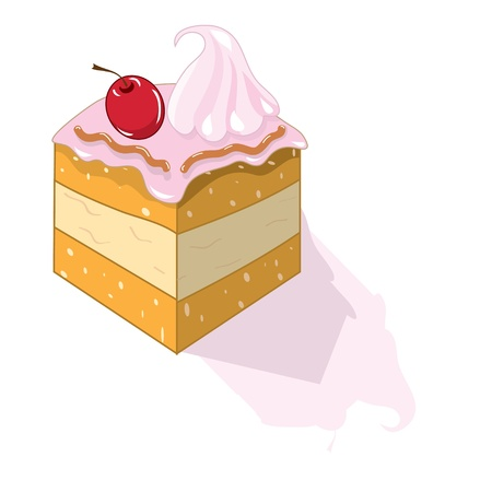 art piece: piece of cake with cherries