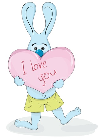 """cartoon rabbit holding in the paws of the heart with the inscription """"I love you"""""""