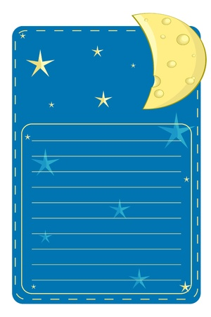 picture postcards: label with the stars and the moon on a blue background with lines for text
