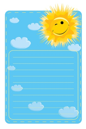 A label with a picture of sun and clouds on a blue background with lines for text Stock Vector - 8949875