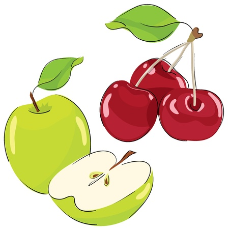 collection of vector drawings. Apple and cherry Illustration