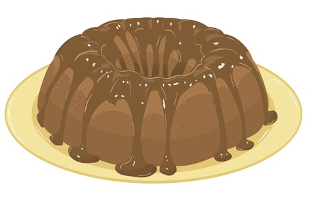 gateau: chocolate cake with chocolate icing on a plate. Vector Illustration Illustration
