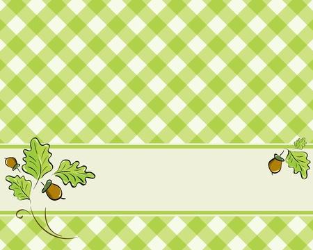 明るい緑色の格子模様の背景はカシの葉およびドングリで飾られました。ベクトル