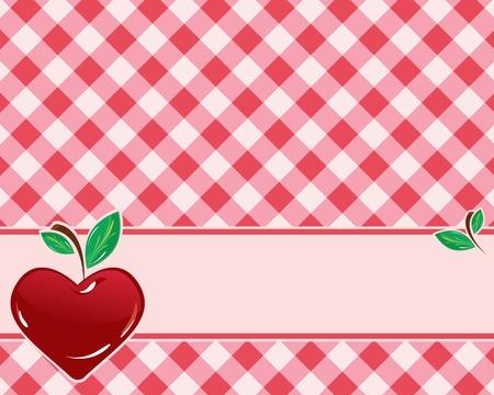 ハート形のチェリーと市松模様の背景の赤の色調で装飾されています。ベクトル