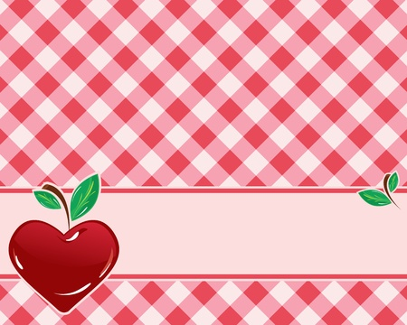 checkered background in red tones decorated with heart-shaped cherries. Vector Vector
