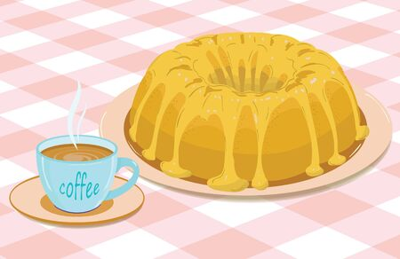 cupcake with frosting on a plate and a mug of coffee on a checkered tablecloth Stock Vector - 9603943