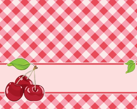 checkered background in red tones decorated with cherries. Vector Vector
