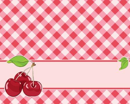 square detail: Fondo a cuadros en tonos rojos decorado con cerezas. Vector