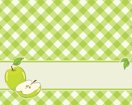 アップルと市松模様の背景色が黄緑で装飾されています。ベクトル  イラスト・ベクター素材