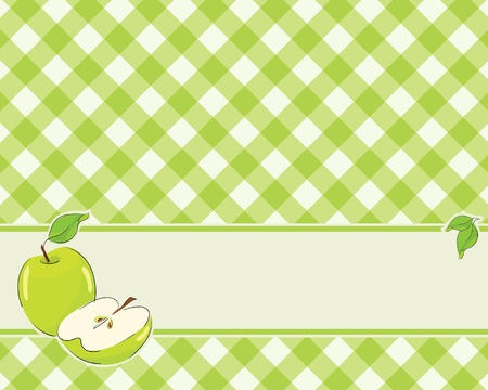checkered background in a light green color decorated with apple. Vector