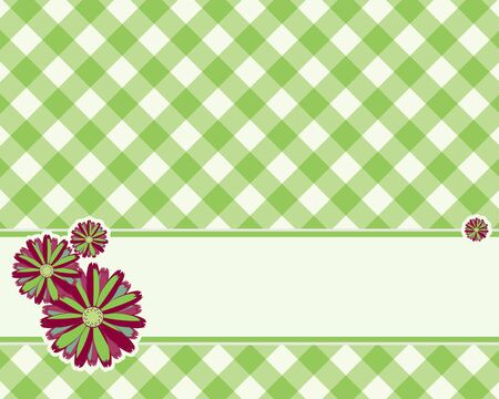 Fondo a cuadros en un color verde claro decorado con flores Foto de archivo - 9934262