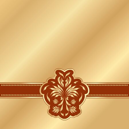 gold background with a red Victorian pattern  Vector