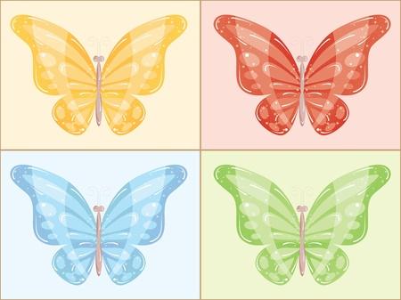 papillon rose: Lumineux beaux papillons de couleurs diff�rentes. Vector Graphics