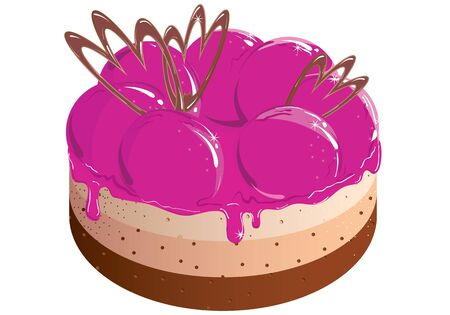 Painted pink cake with berry jam. Vector illustration Stock Vector - 10317136
