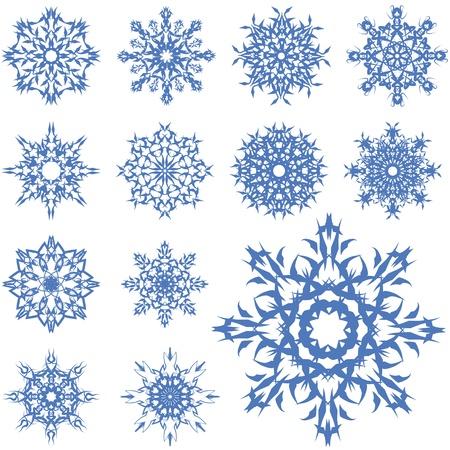 fiambres: conjunto de copos de nieve azules de diferentes formas Vectores