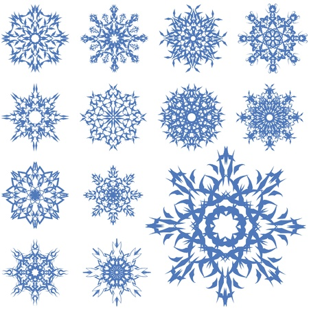 set of blue snowflakes of different shapes Illustration