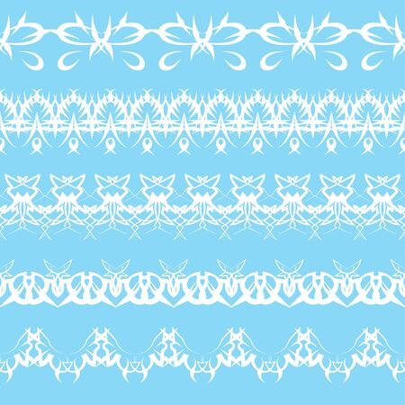 set of white lace edging ornaments on a blue background Stock Vector - 10453210