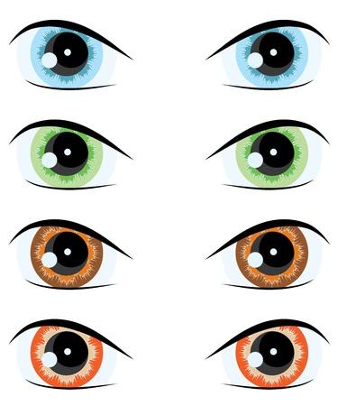 olhos castanhos: cartoon eyes of different colors.