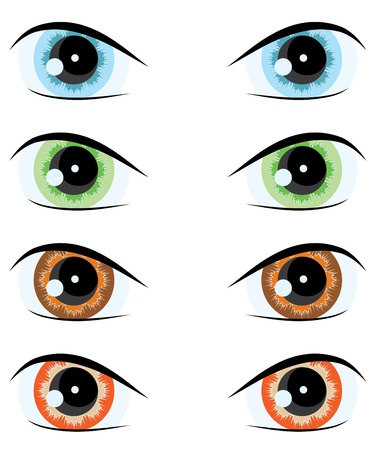 green eyes: cartoon eyes of different colors.