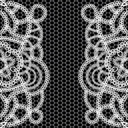 seamless black background with white lace. Vector illustration. Vector