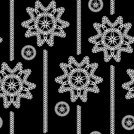 seamless monochrome background with white lace floral pattern on a black background Stock Vector - 10830266