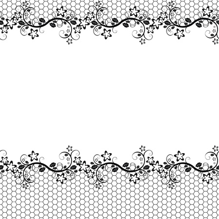 black lace on white background. Vector seamless background Illustration