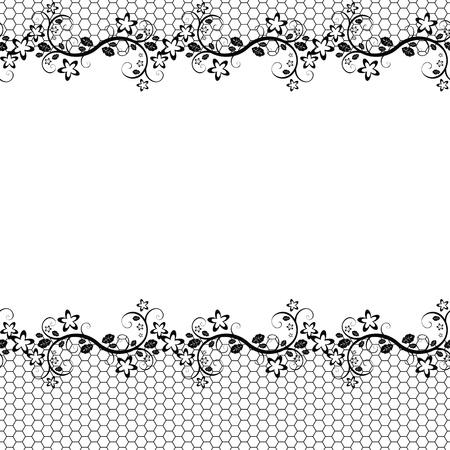 cadre noir et blanc: dentelle noire sur fond blanc. Arri�re-plan transparent de vecteur