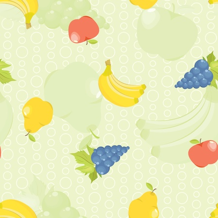 seamless background with cartoon fruit: apples, pears, grapes and bananas Vector