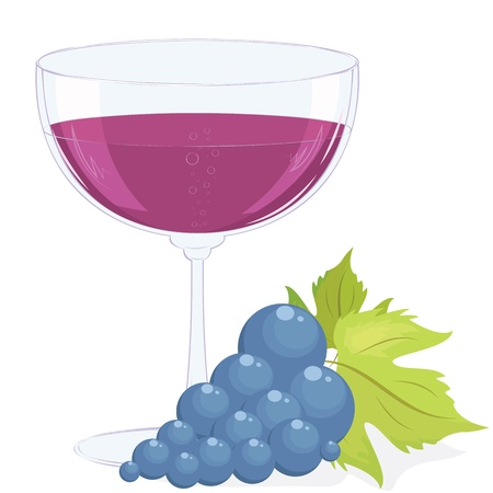 full glass of wine and a brush of dark grapes.  Vector