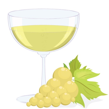 full glass of white wine and a brush of light grapes. Vector