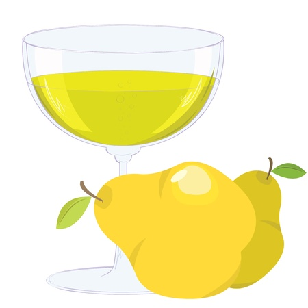 vine pear: cup with bubbling lemonade and pears on white background.