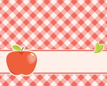 格子縞の背景に熟した赤いリンゴ。ベクトル イラスト